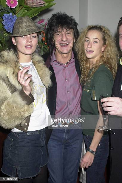 Model Kate Moss Rolling Stones musician Ronnie Wood and daughter Leah Wood attend the Destinys Child Show Case Party at the Porchester Hall in West...