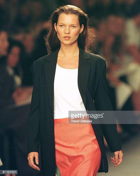 Model Kate Moss Walks The Runway At The Calvin Klein Spring Fashion Show In New York September 18 1998