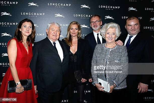 Model Kate Moss with Owner of Longchamp Philippe Cassegrain his wife Michele Cassegrain his daughter Arts Director of Longchamp Sophie Delafontaine...