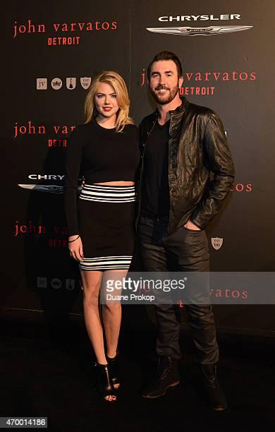 Model Kate Upton and baseball player Justin Verlander attend John Varvatos Detroit Store Opening Party hosted by Chrysler on April 16 2015 in Detroit...