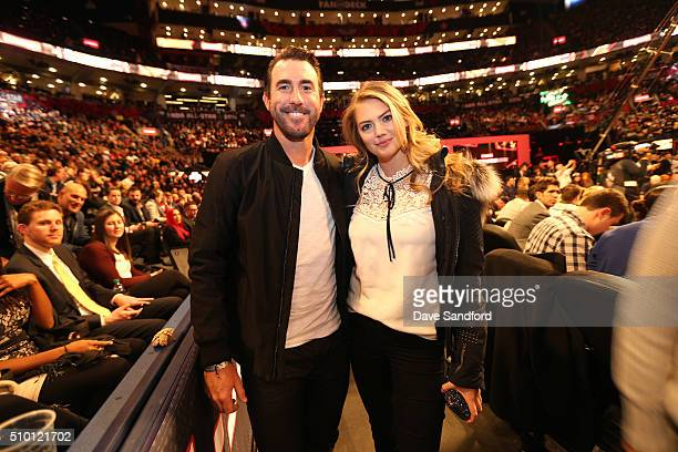 Model Kate Upton and baseball player Justin Verlander during the Verizon Slam Dunk Contest as part of the 2016 NBA All Star Weekend on February 12...