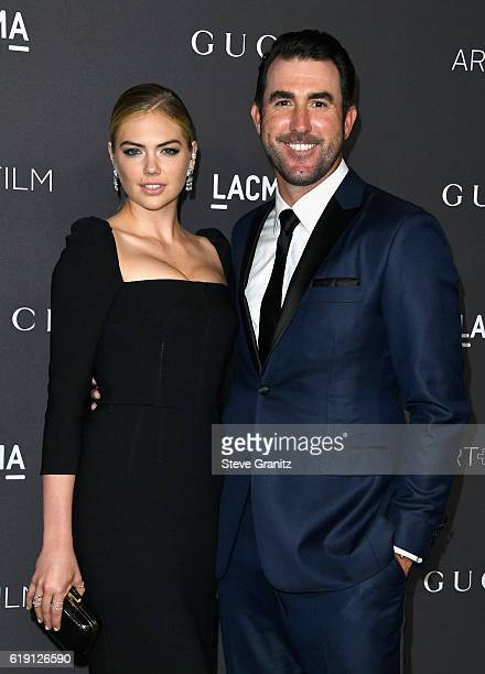 Model Kate Upton and MLB player Justin Verlander attend the 2016 LACMA Art Film Gala honoring Robert Irwin and Kathryn Bigelow presented by Gucci at...