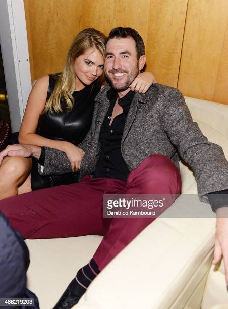 Model Kate Upton and professional baseball player Justin Verlander attend the GQ Super Bowl Party 2014 sponsored by Patron Tequila Van Heusen and...