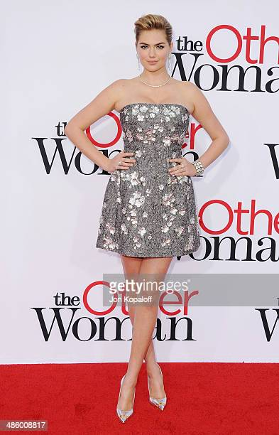 Model Kate Upton arrives at the Los Angeles Premiere 'The Other Woman' at Regency Village Theatre on April 21 2014 in Westwood California