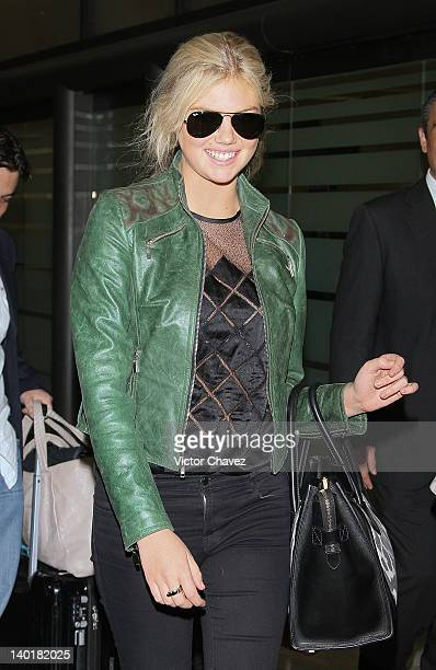 Model Kate Upton arrives at the Mexico City International Airport terminal one on February 29 2012 in Mexico City Mexico