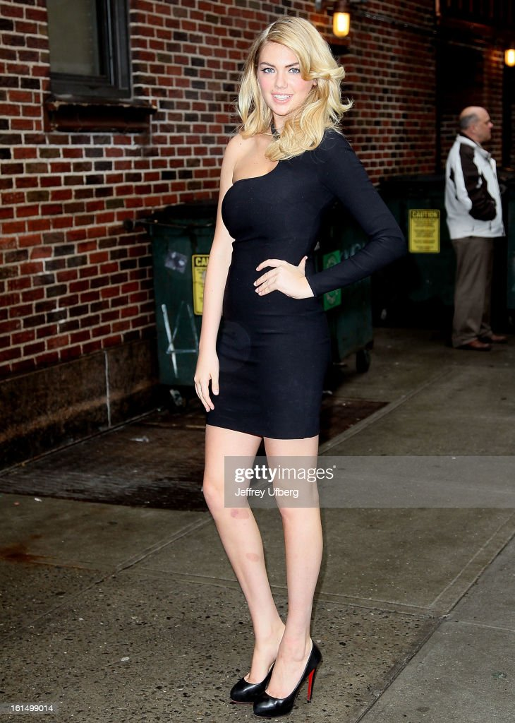 Model <a gi-track='captionPersonalityLinkClicked' href=/galleries/search?phrase=Kate+Upton&family=editorial&specificpeople=7488546 ng-click='$event.stopPropagation()'>Kate Upton</a> arrives to 'Late Show with David Letterman' at Ed Sullivan Theater on February 11, 2013 in New York City.