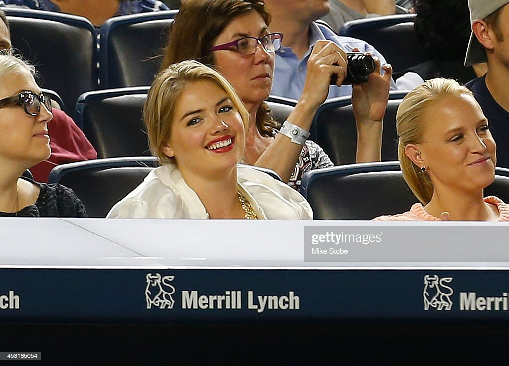 Model Kate Upton attends the game between the New York Yankees and the Detroit Tigers at Yankee Stadium on August 4, 2014 in the Bronx borough of New York City.