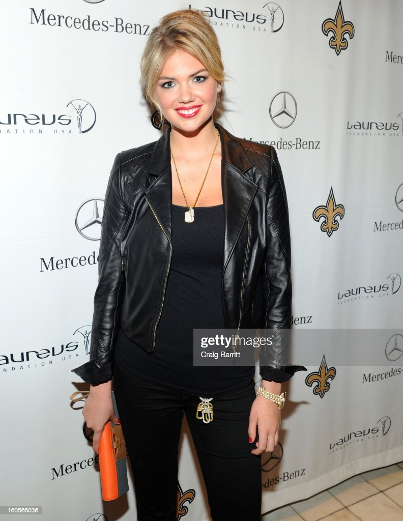 Model Kate Upton attends the Mercedes-Benz Laureus Event at The Wedding Cake House on February 2, 2013 in New Orleans, Louisiana.