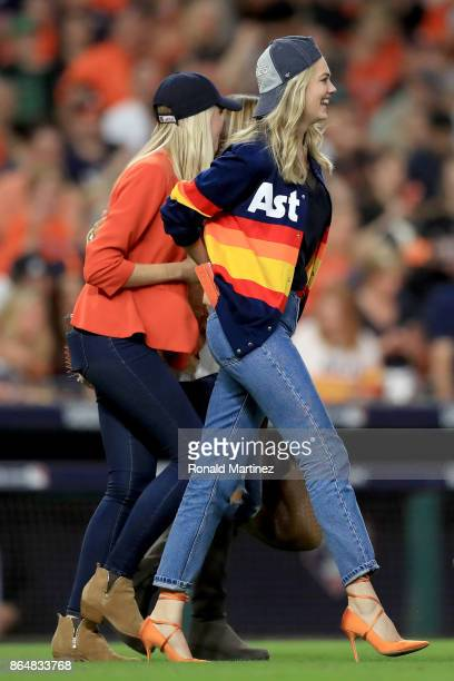Model Kate Upton celebrates after the Houston Astros defeated the New York Yankees by a score of 40 to win Game Seven of the American League...