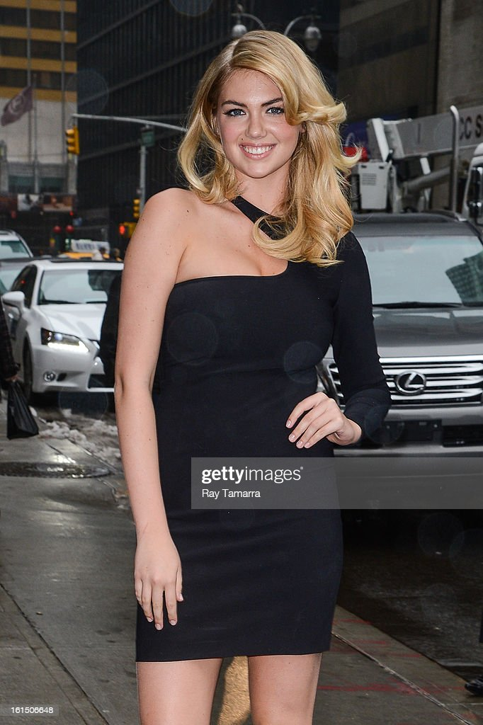 Model <a gi-track='captionPersonalityLinkClicked' href=/galleries/search?phrase=Kate+Upton&family=editorial&specificpeople=7488546 ng-click='$event.stopPropagation()'>Kate Upton</a> enters the 'Late Show With David Letterman' taping at the Ed Sullivan Theater on February 11, 2013 in New York City.