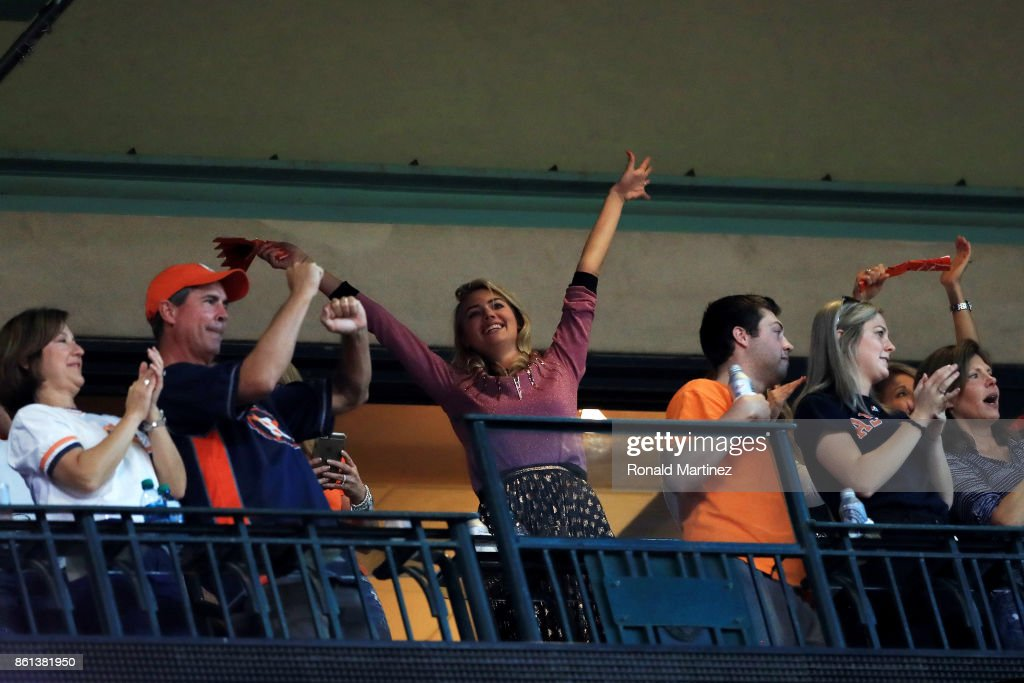 Model Kate Upton looks on during game two of the American League Championship Series between the Houston Astros and the New York Yankees at Minute Maid Park on October 14, 2017 in Houston, Texas.