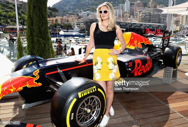 Model Kate Upton on the Red Bull Racing Energy Station during qualifying for the Monaco Formula One Grand Prix at Circuit de Monaco on May 27 2017 in...