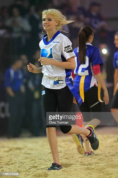 Model Kate Upton participates in DIRECTV's Sixth Annual Celebrity Beach Bowl Game at Victory Field on February 4 2012 in Indianapolis Indiana