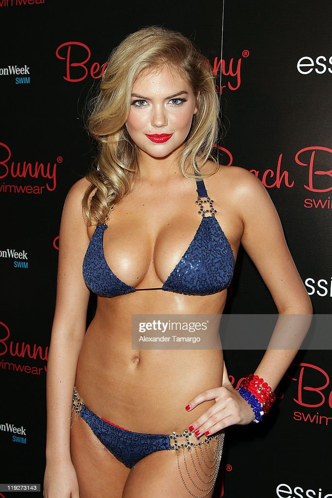 Model Kate Upton poses backstage at the Beach Bunny Swimwear show during MercedesBenz Fashion Week Swim 2012 at The Raleigh on July 15 2011 in Miami...