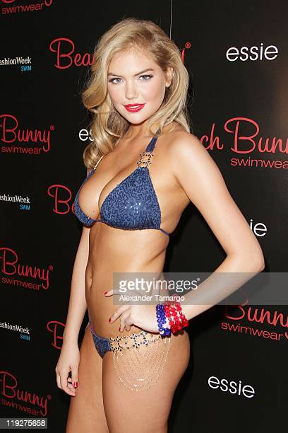 Model Kate Upton poses backstage at the Beach Bunny Swimwear show during MercedesBenz Fashion Week Swim 2012 at Raleigh Hotel on July 15 2011 in...