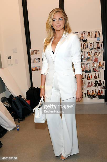 Model Kate Upton poses backstage during Diane Von Furstenberg Spring 2016 New York Fashion Week at Spring Studios on September 13 2015 in New York...