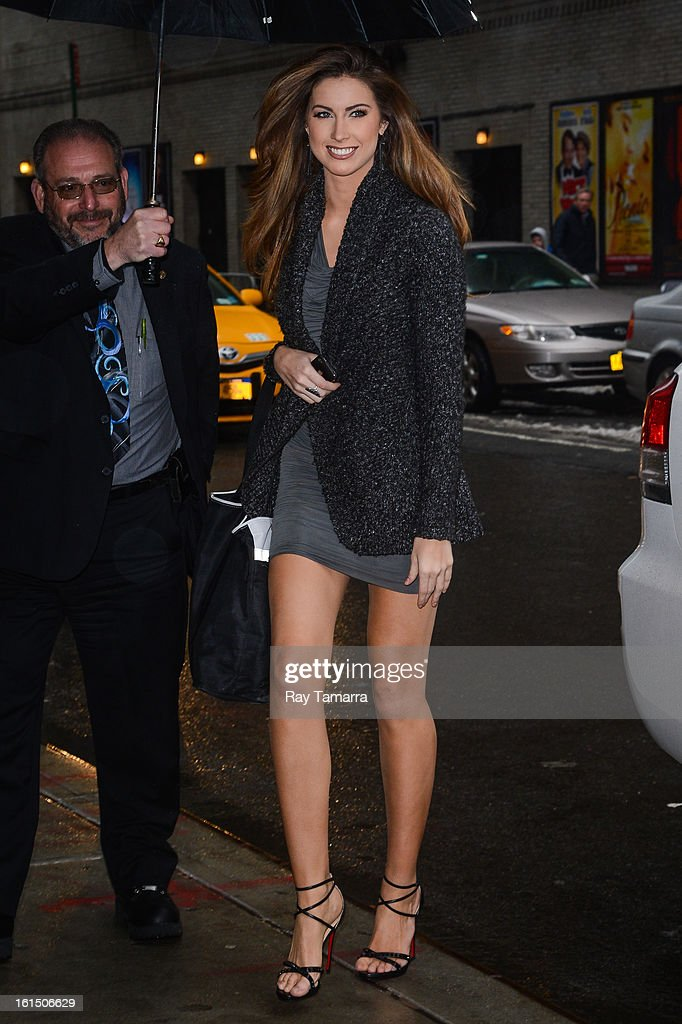 Model Katherine Webb enters the 'Late Show With David Letterman' taping at the Ed Sullivan Theater on February 11, 2013 in New York City.