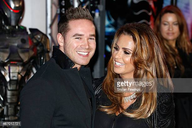 Model Katie Price and Kieran Hayler attend the World Premiere of 'Robocop' at BFI IMAX on February 5 2014 in London England