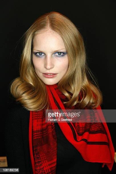 Model Katrin Thormann poses backstage at the Laurel Show during the Mercedes Benz Fashion Week Autumn/Winter 2011 at Bebelplatz on January 20 2011 in...