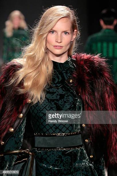 Model Katrin Thormann walks the runway at the BALMAIN X HM Collection Launch at 23 Wall Street on October 20 2015 in New York City