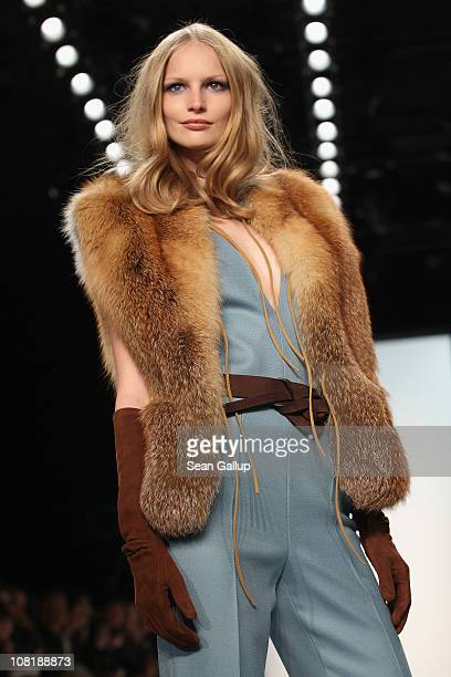 Model Katrin Thormann walks the runway at the Laurel Show during the Mercedes Benz Fashion Week Autumn/Winter 2011 at Bebelplatz on January 20 2011...