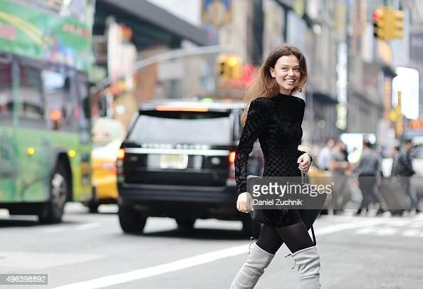 Model Katy Yanok is seen wearing a Balmain x HM silk blend velvet dress and a Celine bag on November 9 2015 in New York City