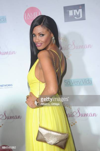 Model KD Aubert at Sai Suman's Official Hollywood Runway Fashion Show held at Sofitel Hotel on April 11 2017 in Los Angeles California