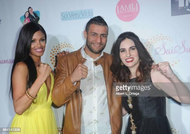 Model KD Aubert fighter Mehdi Baghdad and actress Vida Ghaffari at Sai Suman's Official Hollywood Runway Fashion Show held at Sofitel Hotel on April...