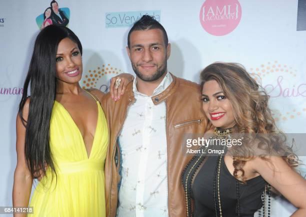 Model KD Aubert fighter Mehdi Baghdad and designer Sai Suman at Sai Suman's Official Hollywood Runway Fashion Show held at Sofitel Hotel on April 11...