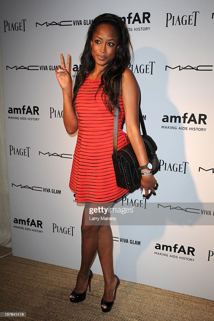 Model Keenyah Hill attends the amfAR Inspiration Miami Beach Party at Soho Beach House on December 6, 2012 in Miami Beach, Florida.