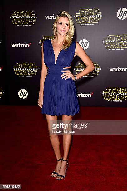Model Kelly Rohrbach attends the premiere of Walt Disney Pictures and Lucasfilm's 'Star Wars The Force Awakens' on December 14th 2015 in Hollywood...