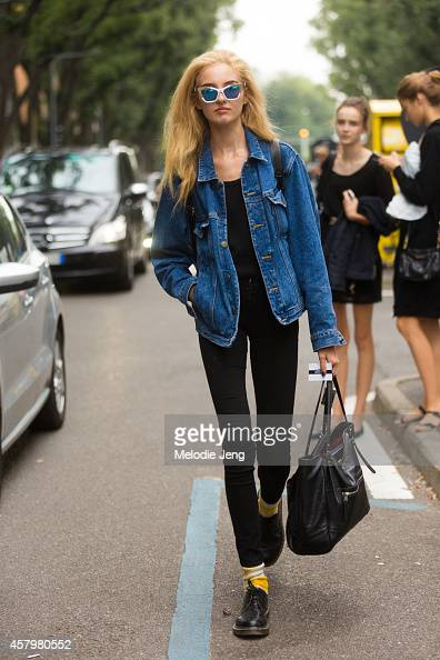 Model Kelsey Soles exits the Emporio Armani show on Day 2 of Milan Fashion Week Spring/Summer 2015 on September 18 2014 in Milan Italy