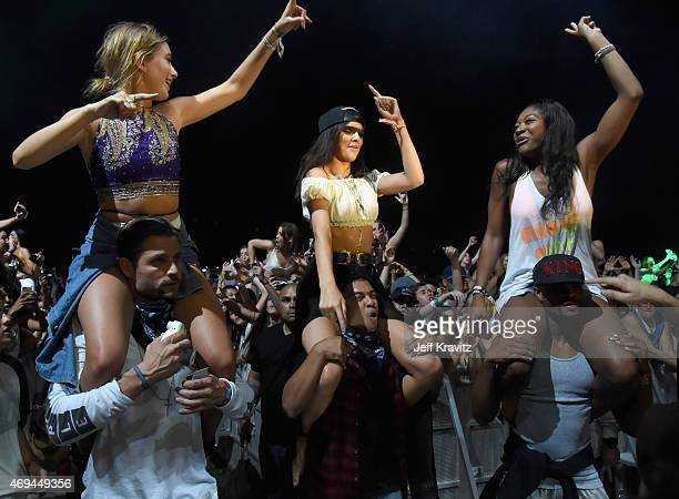 Model Kendall Jenner and Alfredo Flores and guests in the audienceduring day 2 of the 2015 Coachella Valley Music Arts Festival at the Empire Polo...