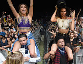 Model Kendall Jenner and Alfredo Flores Hailey Baldwin in the audience during day 2 of the 2015 Coachella Valley Music Arts Festival at the Empire...
