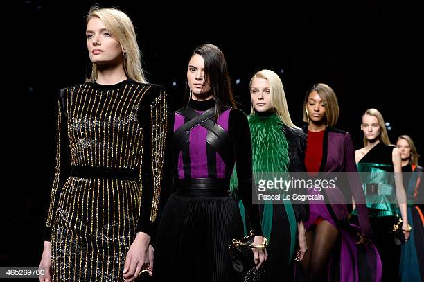 Model Kendall Jenner and fellow models walk the runway during the Balmain show as part of the Paris Fashion Week Womenswear Fall/Winter 2015/2016 on...