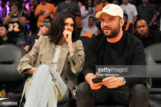 Model Kendall Jenner attends a basketball game between the Los Angeles Lakers and the Los Angeles Clippers at Staples Center on October 19 2017 in...