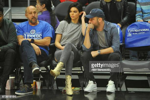 Model Kendall Jenner and producer Michael D Ratner attend a basketball game between the Los Angeles Clippers and the Philadelphia 76ers at Staples...