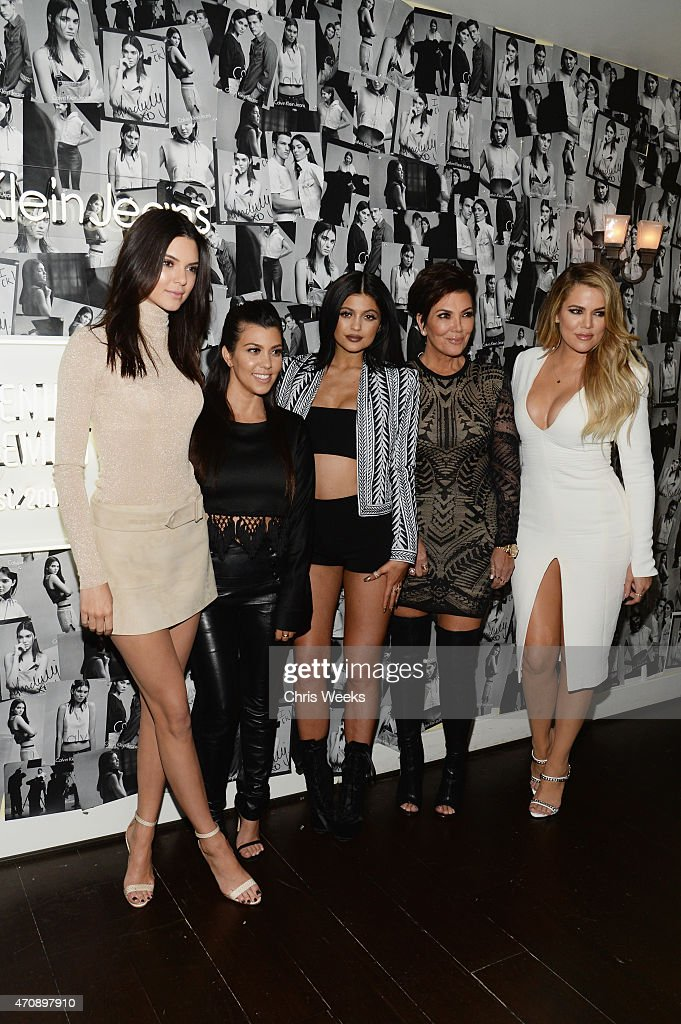 Model Kendall Jenner and tv personalities Kourtney Kardashian, Kylie Jenner, Kris Jenner and Khloe Kardashian attend Opening Ceremony and Calvin Klein Jeans' celebration launch of the #mycalvins Denim Series with special guest Kendall Jenner at Chateau Marmont on April 23, 2015 in Los Angeles, California.