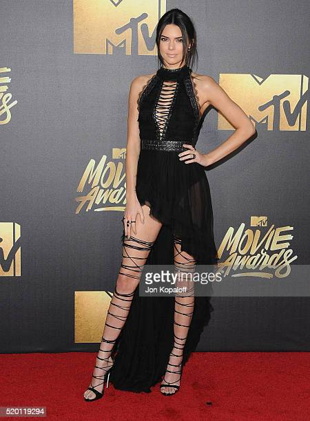 Model Kendall Jenner arrives at the 2016 MTV Movie Awards at Warner Bros Studios on April 9 2016 in Burbank California