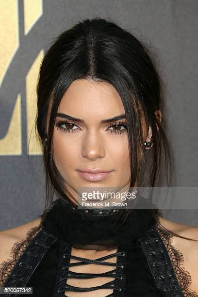 Model Kendall Jenner attends the 2016 MTV Movie Awards at Warner Bros Studios on April 9 2016 in Burbank California MTV Movie Awards airs April 10...
