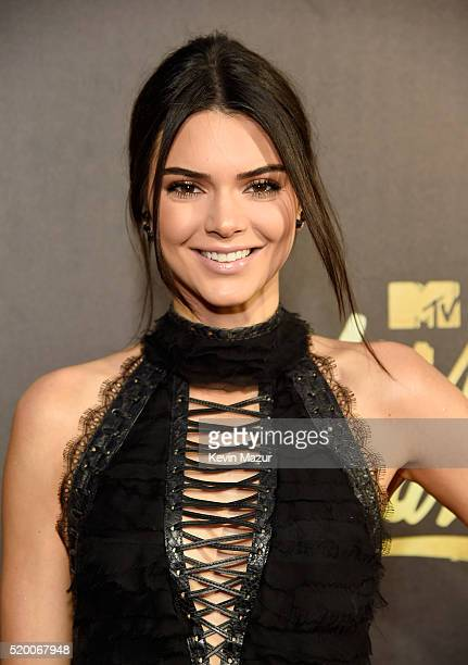 Model Kendall Jenner attends the 2016 MTV Movie Awards at Warner Bros Studios on April 9 2016 in Burbank California MTV Movie Awards airs April 10...