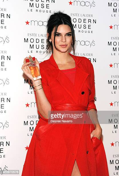 Model Kendall Jenner celebrates the launch of The New Estee Lauder Fragrance Modern Muse Le Rouge at Macy's Herald Square on September 18 2015 in New...
