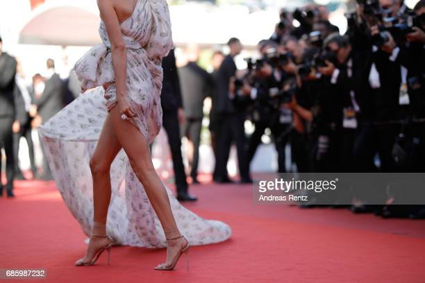 Model Kendall Jenner dress detail attends the '120 Beats Per Minute ' screening during the 70th annual Cannes Film Festival at Palais des Festivals...