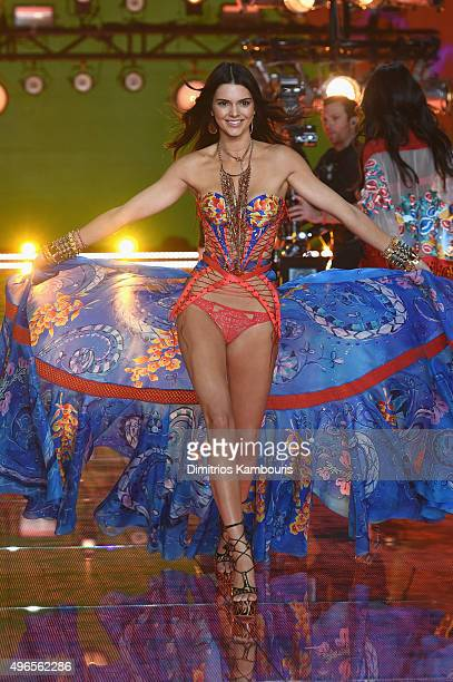 Model Kendall Jenner from California walks the runway during the 2015 Victoria's Secret Fashion Show at Lexington Avenue Armory on November 10 2015...