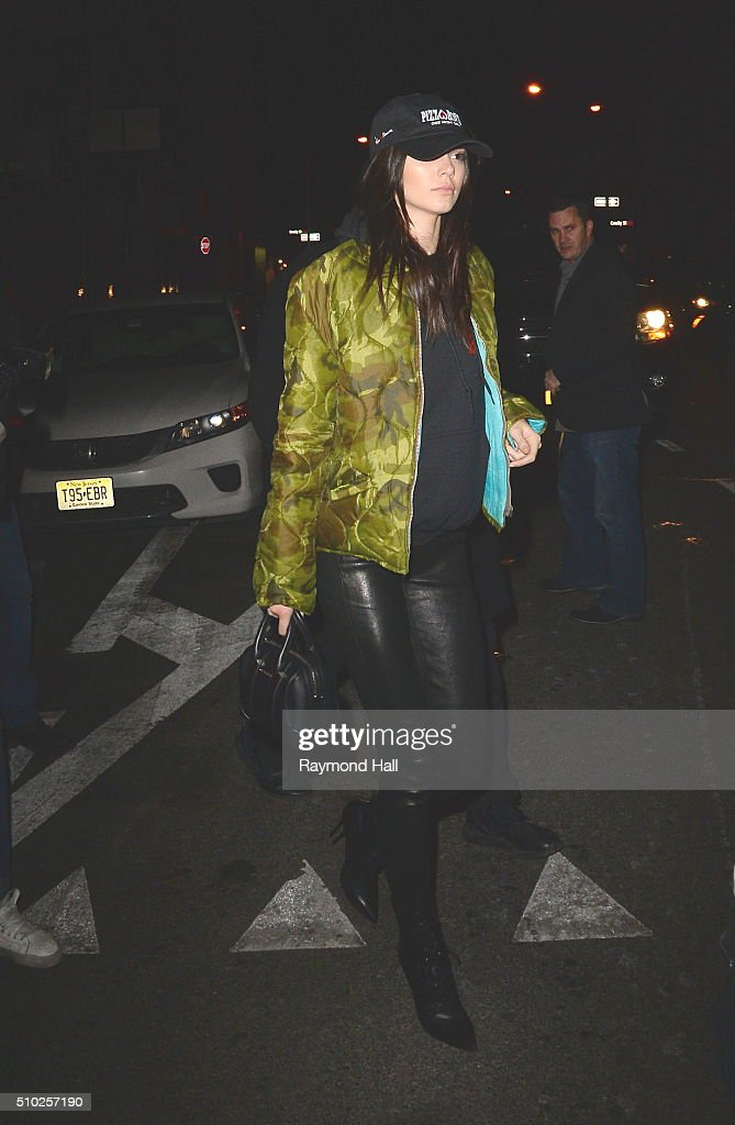 Model Kendall Jenner is going on a Porty Bus in Soho at 1am in the Morning on February 14, 2016 in New York City.