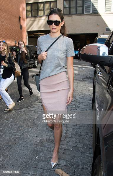 Model Kendall Jenner is seen arriving at Michael Kors fashion show during Spring 2016 New York Fashion Week on September 16 2015 in New York City
