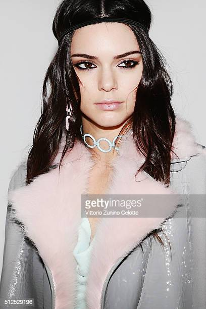 Model Kendall Jenner poses backstage ahead of the Versace show during Milan Fashion Week Fall/Winter 2016/17 on February 26 2016 in Milan Italy