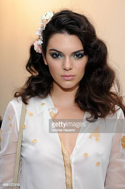 Model Kendall Jenner poses backstage during Diane Von Furstenberg Spring 2016 New York Fashion Week at Spring Studios on September 13 2015 in New...