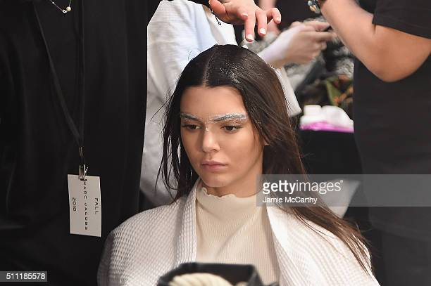 Model Kendall Jenner prepares backstage at Marc Jacobs Fall 2016 fashion show during new York Fashion Week at Park Avenue Armory on February 18 2016...