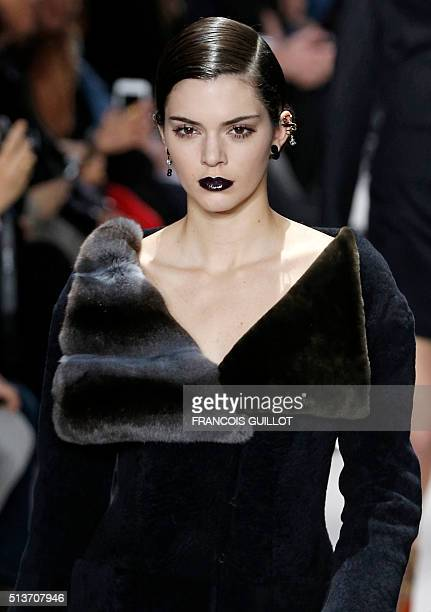 US model Kendall Jenner presents a creation for Christian Dior during the 20162017 fall/winter readytowear collection fashion show on March 4 2016 in...